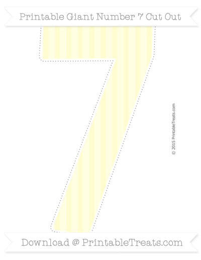 Free Cream Striped Giant Number 7 Cut Out