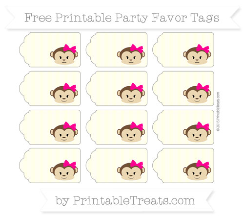 Free Cream Striped Girl Monkey Party Favor Tags