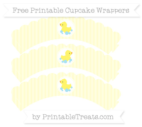 Free Cream Thin Striped Pattern Baby Duck Scalloped Cupcake Wrappers