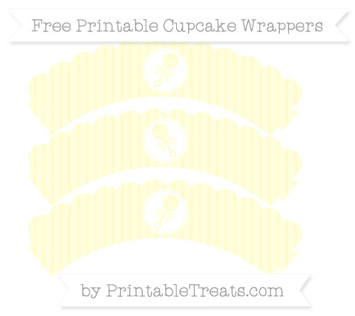 Free Cream Thin Striped Pattern Baby Rattle Scalloped Cupcake Wrappers
