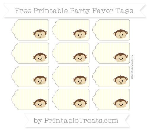 Free Cream Thin Striped Pattern Boy Monkey Party Favor Tags