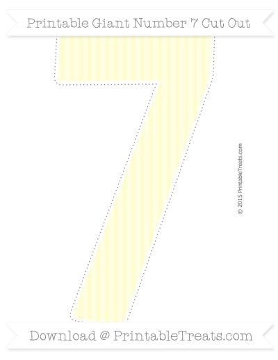 Free Cream Thin Striped Pattern Giant Number 7 Cut Out