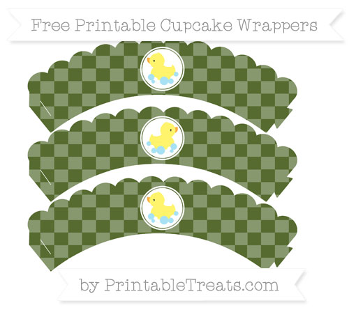 Free Dark Olive Green Checker Pattern Baby Duck Scalloped Cupcake Wrappers