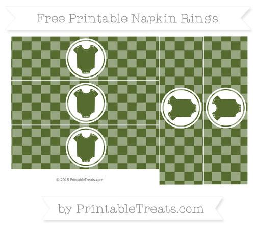 Free Dark Olive Green Checker Pattern Baby Onesie Napkin Rings