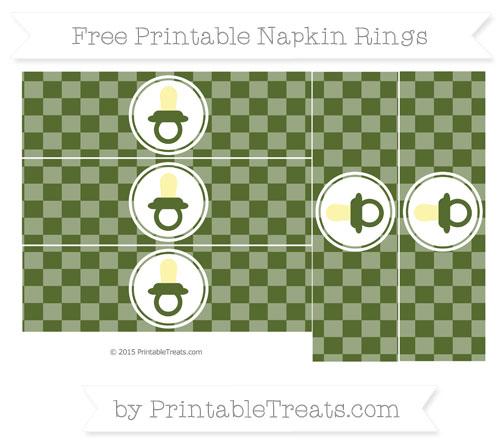 Free Dark Olive Green Checker Pattern Baby Pacifier Napkin Rings