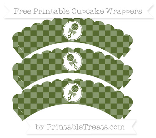 Free Dark Olive Green Checker Pattern Baby Rattle Scalloped Cupcake Wrappers