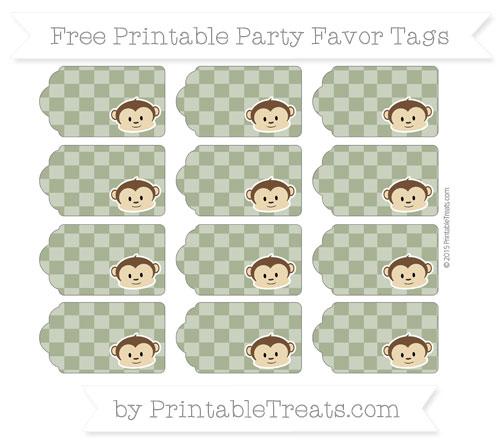 Free Dark Olive Green Checker Pattern Boy Monkey Party Favor Tags