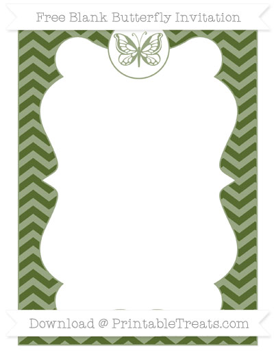 Free Dark Olive Green Chevron Blank Butterfly Invitation
