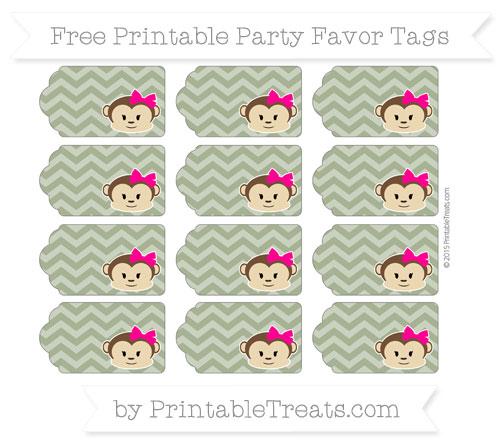 Free Dark Olive Green Chevron Girl Monkey Party Favor Tags