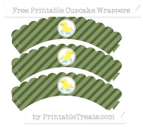 Free Dark Olive Green Diagonal Striped Baby Duck Scalloped Cupcake Wrappers