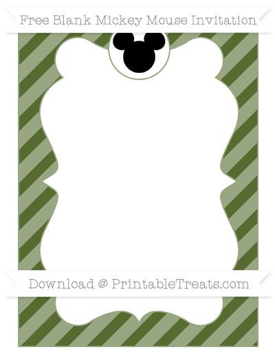 Free Dark Olive Green Diagonal Striped Blank Mickey Mouse Invitation