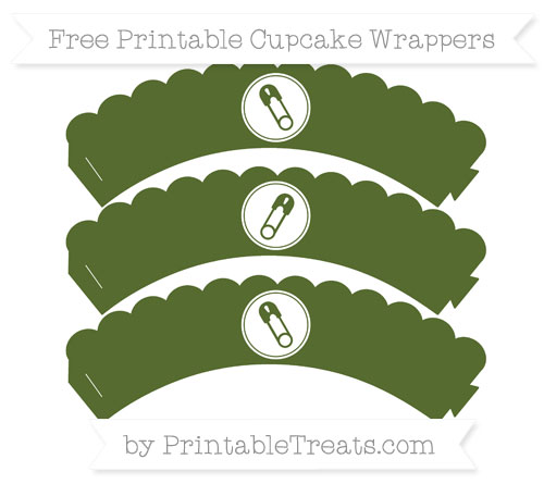 Free Dark Olive Green Diaper Pin Scalloped Cupcake Wrappers