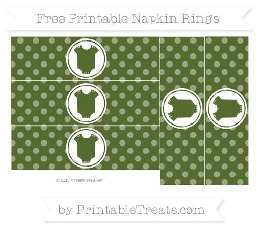 Free Dark Olive Green Dotted Pattern Baby Onesie Napkin Rings