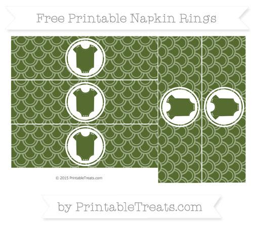 Free Dark Olive Green Fish Scale Pattern Baby Onesie Napkin Rings