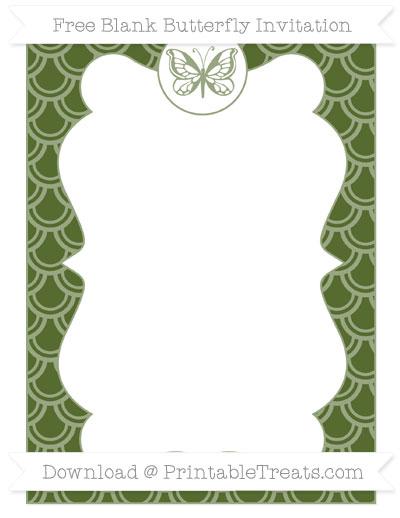 Free Dark Olive Green Fish Scale Pattern Blank Butterfly Invitation
