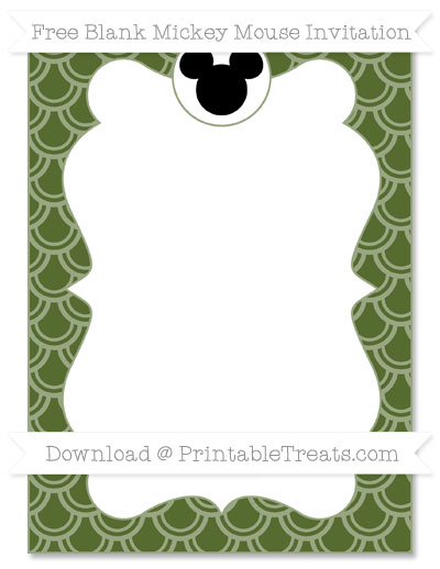 Free Dark Olive Green Fish Scale Pattern Blank Mickey Mouse Invitation