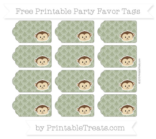 Free Dark Olive Green Fish Scale Pattern Boy Monkey Party Favor Tags