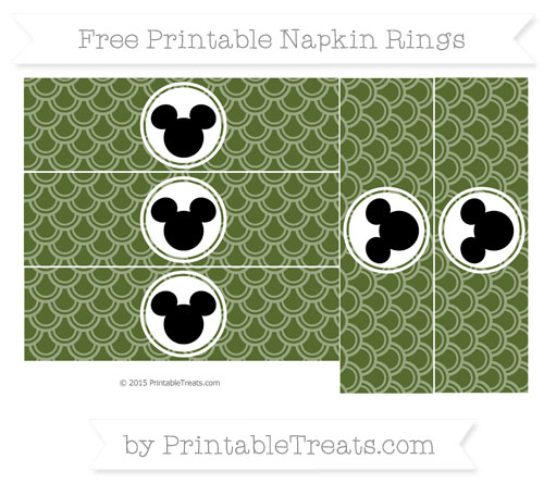 Free Dark Olive Green Fish Scale Pattern Mickey Mouse Napkin Rings