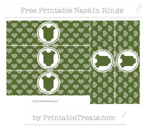 Free Dark Olive Green Heart Pattern Baby Onesie Napkin Rings