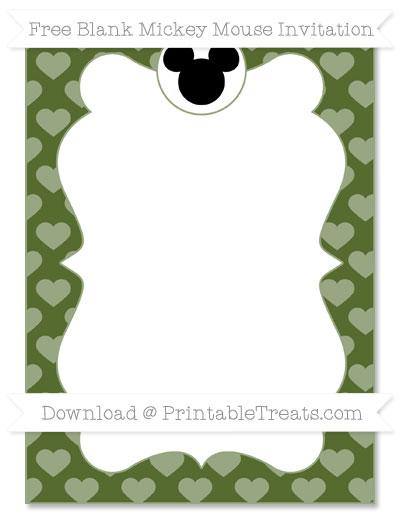 Free Dark Olive Green Heart Pattern Blank Mickey Mouse Invitation