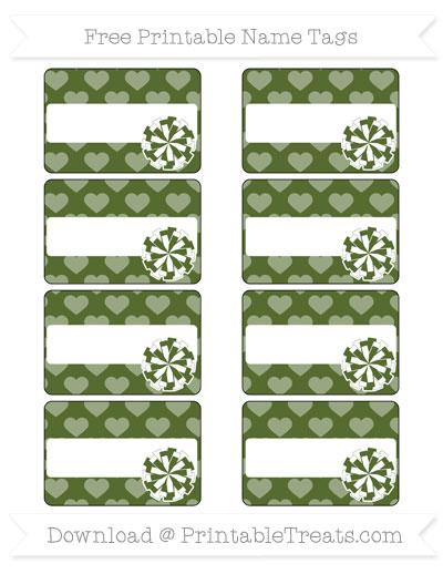 Free Dark Olive Green Heart Pattern Cheer Pom Pom Tags