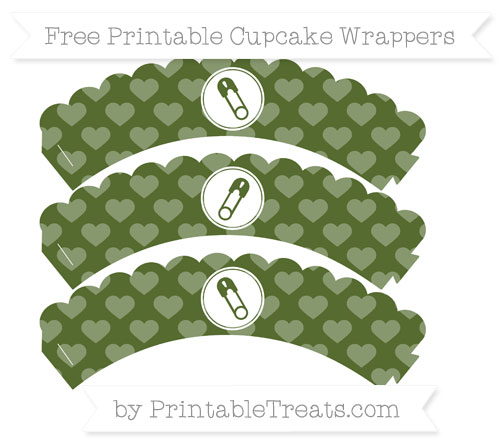 Free Dark Olive Green Heart Pattern Diaper Pin Scalloped Cupcake Wrappers