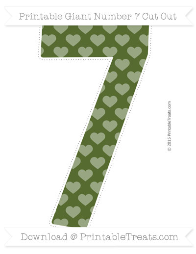 Free Dark Olive Green Heart Pattern Giant Number 7 Cut Out