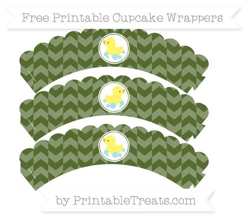 Free Dark Olive Green Herringbone Pattern Baby Duck Scalloped Cupcake Wrappers