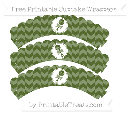 Free Dark Olive Green Herringbone Pattern Baby Rattle Scalloped Cupcake Wrappers