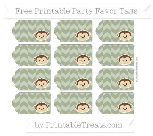 Free Dark Olive Green Herringbone Pattern Boy Monkey Party Favor Tags
