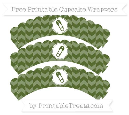 Free Dark Olive Green Herringbone Pattern Diaper Pin Scalloped Cupcake Wrappers