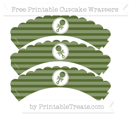 Free Dark Olive Green Horizontal Striped Baby Rattle Scalloped Cupcake Wrappers