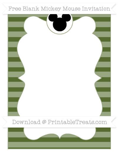 Free Dark Olive Green Horizontal Striped Blank Mickey Mouse Invitation