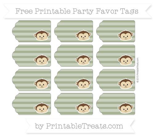 Free Dark Olive Green Horizontal Striped Boy Monkey Party Favor Tags