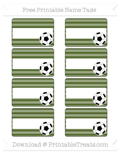 Free Dark Olive Green Horizontal Striped Soccer Name Tags