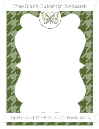 Free Dark Olive Green Houndstooth Pattern Blank Butterfly Invitation