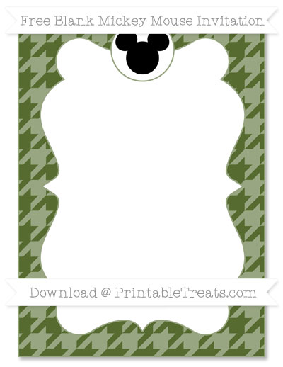 Free Dark Olive Green Houndstooth Pattern Blank Mickey Mouse Invitation