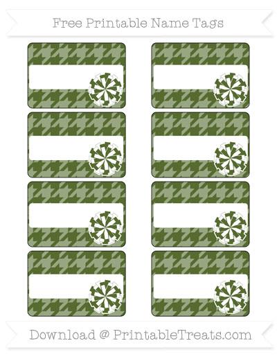 Free Dark Olive Green Houndstooth Pattern Cheer Pom Pom Tags