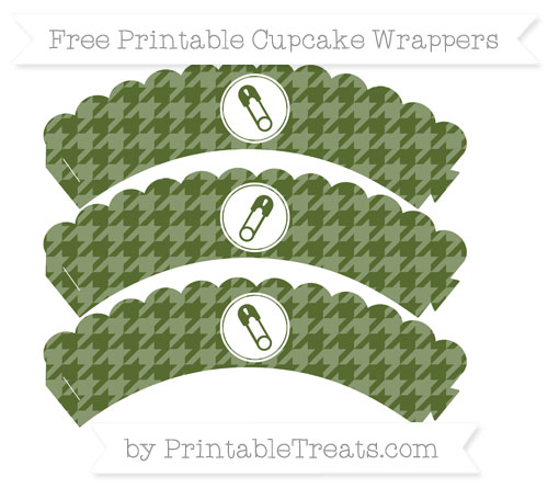 Free Dark Olive Green Houndstooth Pattern Diaper Pin Scalloped Cupcake Wrappers