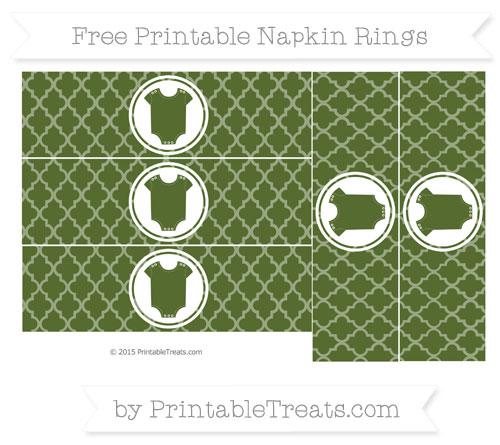 Free Dark Olive Green Moroccan Tile Baby Onesie Napkin Rings