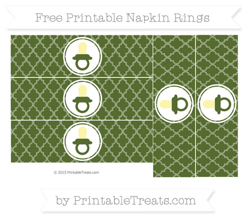 Free Dark Olive Green Moroccan Tile Baby Pacifier Napkin Rings