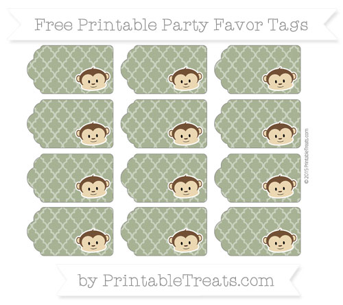 Free Dark Olive Green Moroccan Tile Boy Monkey Party Favor Tags