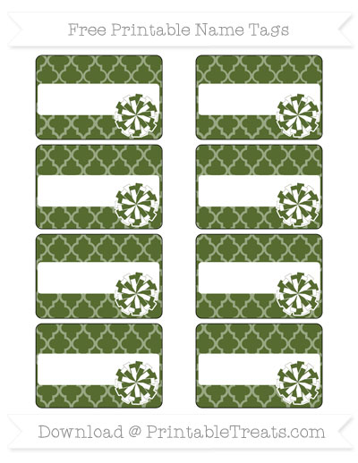 Free Dark Olive Green Moroccan Tile Cheer Pom Pom Tags