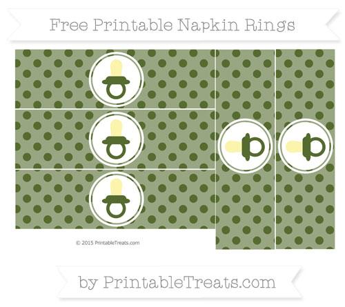 Free Dark Olive Green Polka Dot Baby Pacifier Napkin Rings