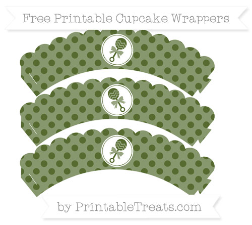 Free Dark Olive Green Polka Dot Baby Rattle Scalloped Cupcake Wrappers