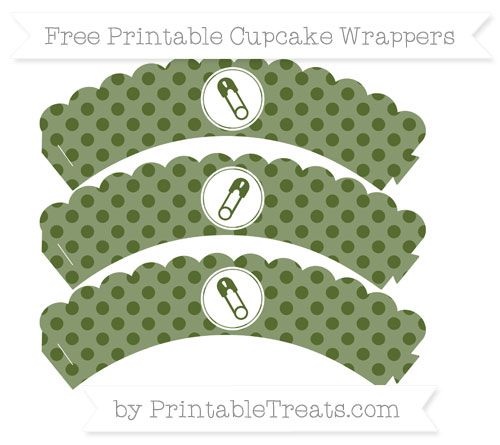 Free Dark Olive Green Polka Dot Diaper Pin Scalloped Cupcake Wrappers