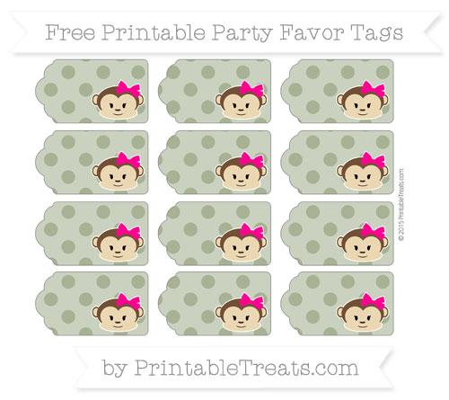 Free Dark Olive Green Polka Dot Girl Monkey Party Favor Tags