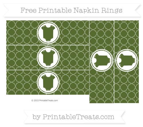 Free Dark Olive Green Quatrefoil Pattern Baby Onesie Napkin Rings