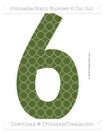 Free Dark Olive Green Quatrefoil Pattern Giant Number 6 Cut Out