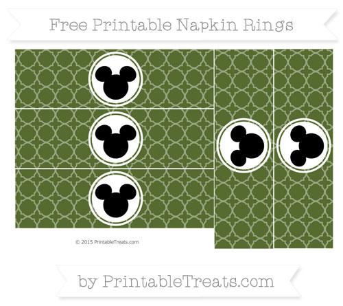 Free Dark Olive Green Quatrefoil Pattern Mickey Mouse Napkin Rings